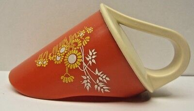 Vintage 70's Avon Hand Scoop Flour Sugar Orange Beige Yellow Flowers