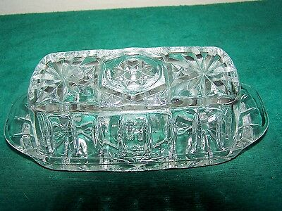 Vintage Anchor Hocking EAPC Star of David Pattern Butter Dish w Lid Clear Glass