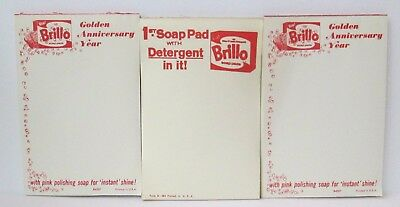 Lot Of 3 Vintage 1960's Brillo Soap Pads Advertising Scratch Pads