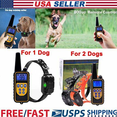 Electric Remote Dog Pet Training Shock Collar 800 Yard Waterproof Rechargeable