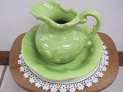 McCoy Vintage Pottery Small Pitcher & Wash Basin Bowl Bright Lime Green, USA