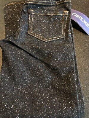 NWT Girls 5 Cherokee Black Sparkle Glitter Jeggings Jeans