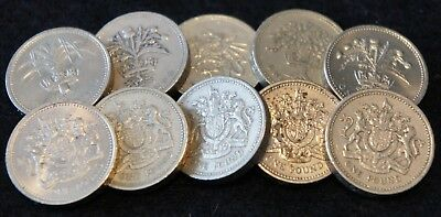 10 England 1 Pound 1983-2000 Coins in VF-AU Condition Nice Mixed Lot!