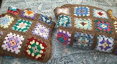 Lot of 2 Matching Handcrafted Crochet Granny Square Afghan Throw Blankets NICE!
