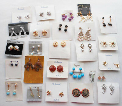 Vintage lot of 26 pairs earrings, NOS, Never worn, Laguna, Deauville