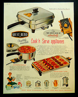 Vintage 1958 West Bend retro kitchen appliance advertisement print ad art