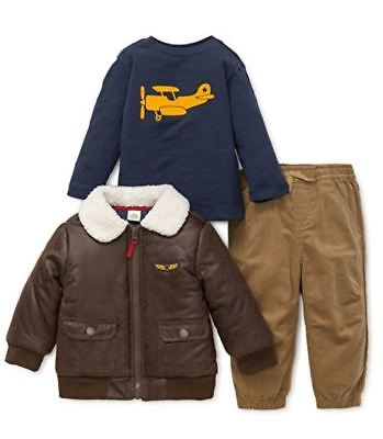 Little Me Baby Boys' 3 Piece Jacket and Pant Set Aviator 2T