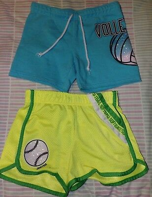 Justice Girls Size 10 Shorts Yellow Softball, Blue Volleyball