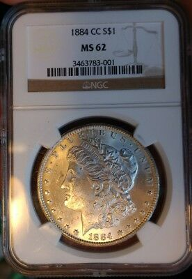 1884-CC NGC MS62 Morgan silver dollar,Satin white BU CARSON CITY