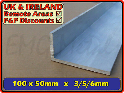 "Aluminium Angle (L section, edging, bracket, alloy, ally)| 100x50 mm / 4""x2"""