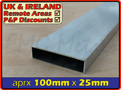 Aluminium Rectangular Tube ║ 100mm x 25mm ║ box section,profile,pipe,rectangle