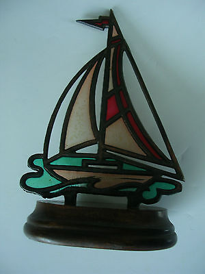vintage STAINED GLASS SAILBOAT COPPER EDGING WOOD BASE SUNCATCHER collectible