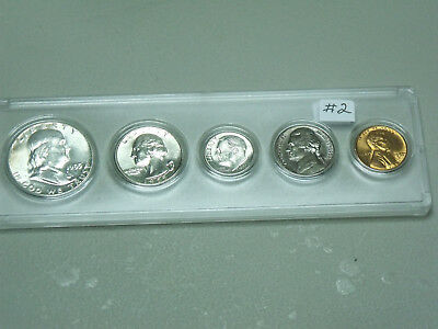 1955 Birth Year set  5 coins,w/ Silver Half,Quarter,and Dime BU in holder