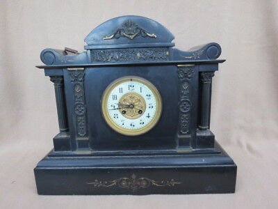 Very Large Heavy Antique French 8 Day Striking Slate Clock