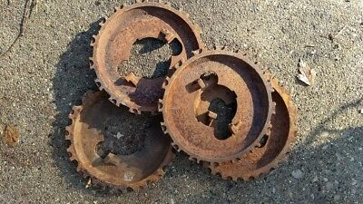 ,VTG FARM SEED PLANTER PLATES GEARS STEAMPUNK CAST IRON RUSTIC  Qty 5 lot of 5