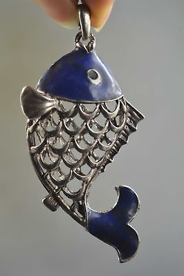 Collectable Handwork Decor Old Miao Silver Carve Lovely Goldfish Lucky Pendant