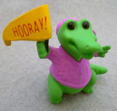 Hallmark Merry Miniature Alligator in Pink Cap & Sweater 1990 Hooray Flag