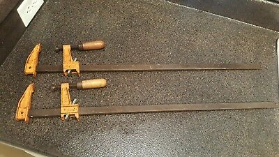 "Pair of Vintage Jorgensen HEAVY DUTY Bar Clamps 24"" # 3724 Work Great!"
