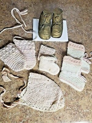 Lot Antique Vintage Baby Girl Doll Clothes Shoes Set Hat Booties Mittens Pink