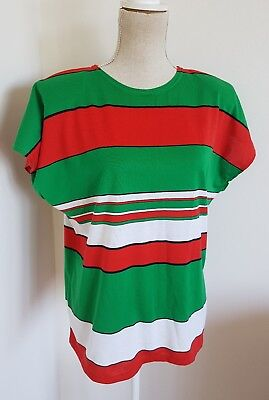 Womens Vintage 1980s Tshirt~ Red Green White Stripe~ Rabbitohs ~Medium