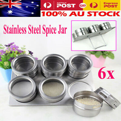 6Packs Magnetic Spice Tin Stainless Steel Storage Container Jar Clear Lid Set OZ