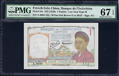 French Indo-China ND (1949) P-54e PMG Superb Gem UNC 67 EPQ 1 Piastre