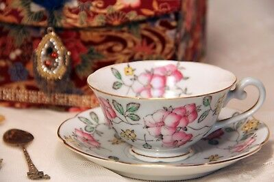 Antique High Tea Gift Set, Made in Occupied Japan, Diamond China Teacup & Saucer