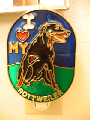"""STAINED GLASS STYLE """" Rottweiler """" DOG NIGHT LIGHT- GREAT GIFT FOR ALL OCCASIONS"""