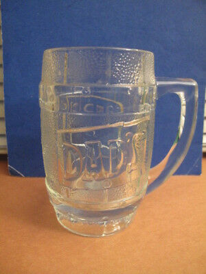 Vintage Dads Root Beer: Barrel Shaped ( raised relief ) Heavy Mug / clear