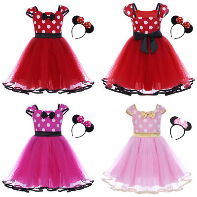 Toddler Baby Girls Birthday Dress Minnie Mickey Mouse Headband Outfits Clothes