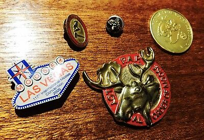 Lot of 5 Vintage Loyal Order of the MOOSE Items Screwback Pin STERLING