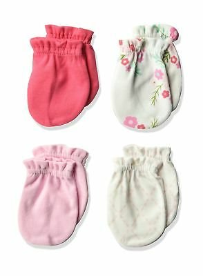 Luvable Friends Unisex Baby Scratch Mittens, 4 Pack Pink Floral 0 - 6 Months