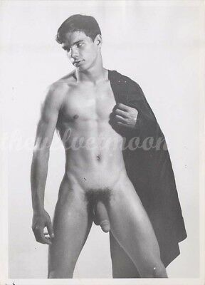 Vintage Male Nude Handsome and Lean in Studio with Cloak over Shoulder