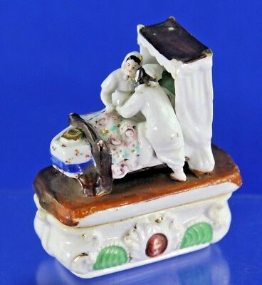 Antique Porcelain Fairing Patch Trinket Match Box Two People Climbing Into Bed