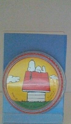 Vintage Peanuts Snoopy Laying On Dog House Glass Paperweight Rare Mint