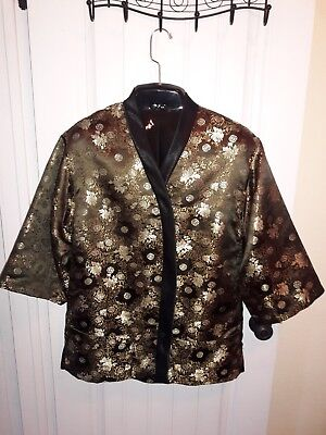 Vintage Chinese Satin Brocade fabric men's Smoking Jacket, Taylor Made Mendi Mum