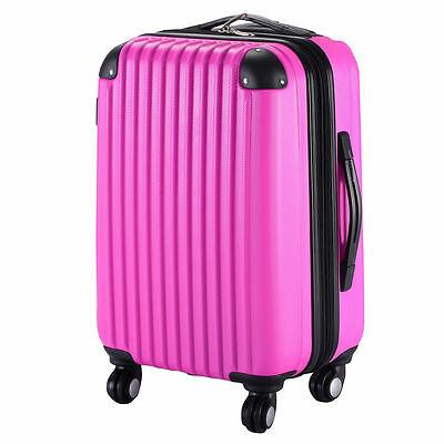"20"" Expandable ABS Carry On Luggage Travel Bag Trolley Suitcase Pink"