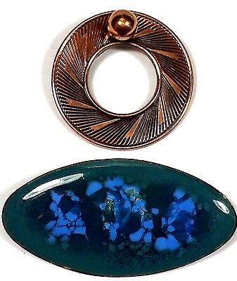 Vintage Jewelry LOT OF 2 Brooch Pin Scarf Brass Gold Tone Blue Ceramic #848