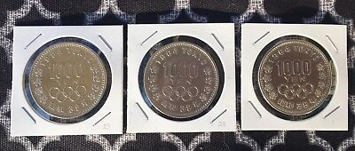 Lot of Three (3) Japan 1000 yen coin 1964 Olympic Games UNC.