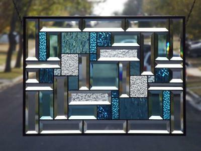 """""""The Turquoise Collection""""22 1/4""""x16 1/4-Beveled Stained Glass Window Panel"""