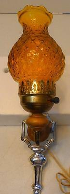 Vtg American Lamp And Shade Co Metal Electric Wall Sconce Yellow Glass Globe