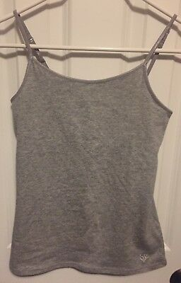NWT Justice Girl's Gray Strappy Cami w/ Built-In Shelf Bra. Size 14.