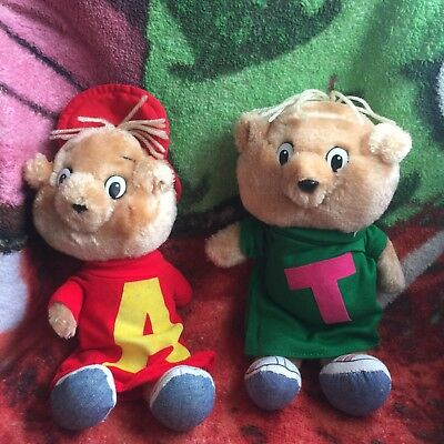 """2 Vintage 1983 Alvin And The Chipmunks Plush Dolls 10"""" Alvin Theodore 80s Toy"""