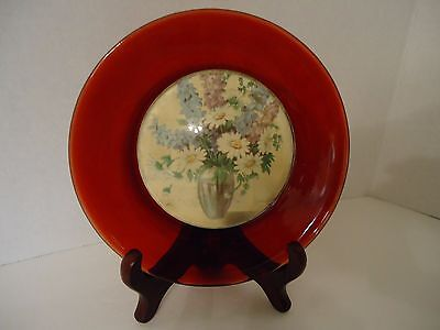 Antique Ruby Glass Floral Theme Under Convex Raised Center Hanger Included 6""