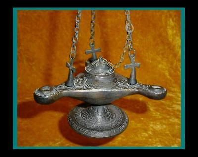 BRONZE ROMAN BYZANTINE 3 FONT HANGING OIL LAMP w/3 Cross Hanging Chain Mounts