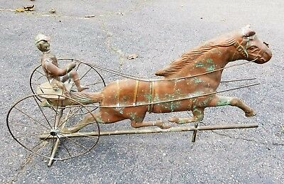 "Antique Copper SULKY DRIVER & HORSE WEATHERVANE 19th Century Large! 33"" Long"