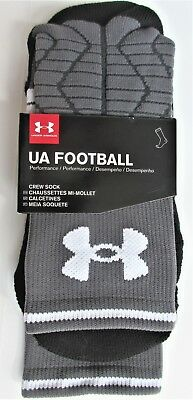 Under Armour Football Crew Sock Boys Girls Large (size 1-4) 1 PR Gray Black NWT