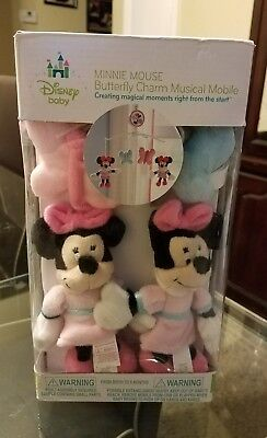 Disney Minnie Mouse Butterfly Baby Crib Musical Mobile Brahms Lullaby