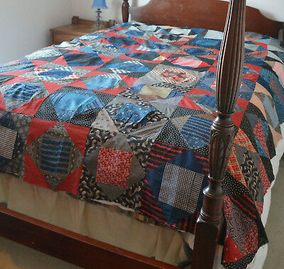 Beautiful Antique 19th Century Primitive Square In A Square Quilt Top
