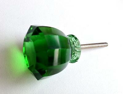 Antique Vintage Style Emerald Green Glass Cabinet Knobs Pulls Seconds